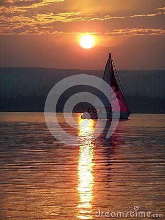 A boat and sundown on Lake Balaton (Hungary