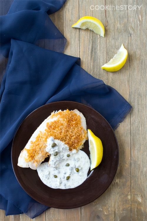 Parmesan-Crusted Tilapia with Creme Fraich Tartar Cream Sauce - The sauce is just WOW!