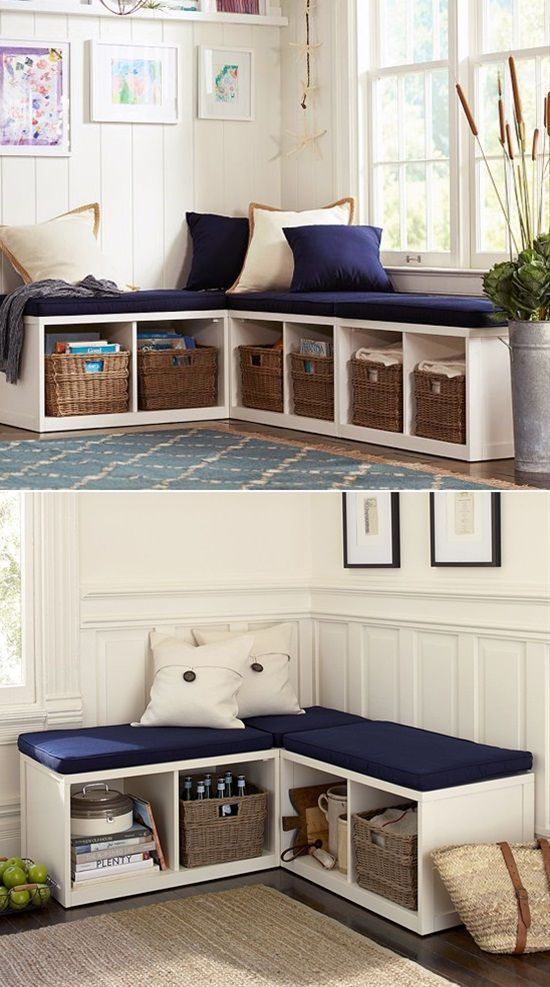 A Double Duty Corner in the Form of a Bench with Seating and Storage Area