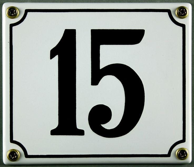Hausnummernschild 15 weiß 12x14 cm sofort lieferbar Schild Emaille Hausnummer Haus Nummer Zahl Ziffer Metallschild -