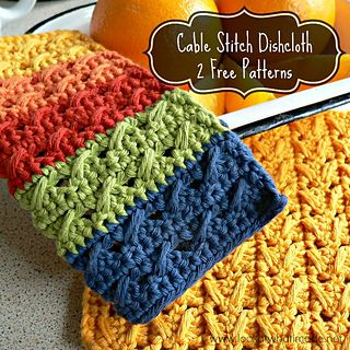 Cable stitch dishcloth ~ free pattern