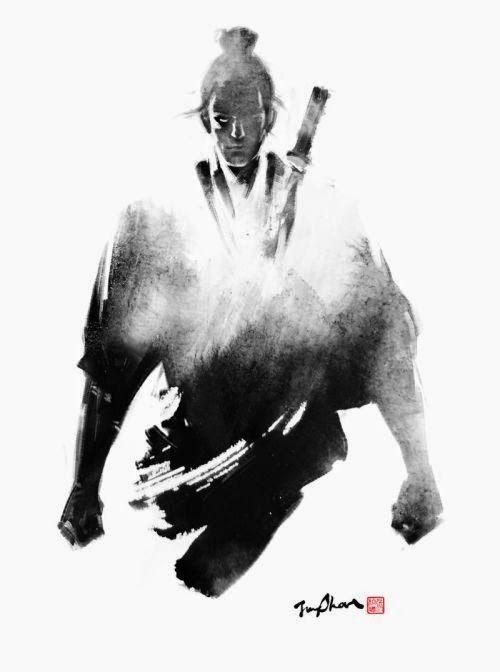 Fantasia medieval japonesa e samurais nas incríveis ilustrações com tinta de Jung Shan Chang