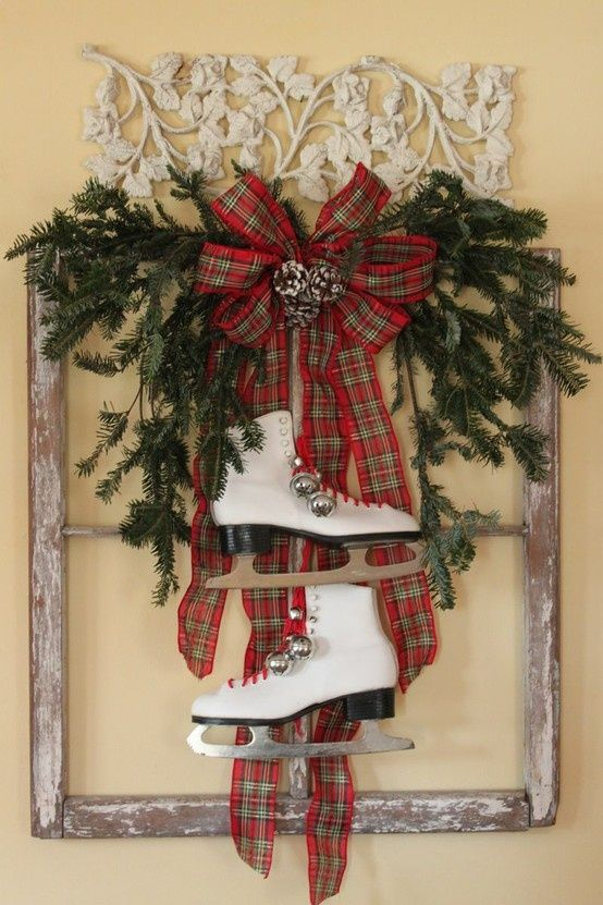 Old window used for Christmas Decor  Holidays  ~ 220626_Christmas Decorating Ideas Using Old Windows