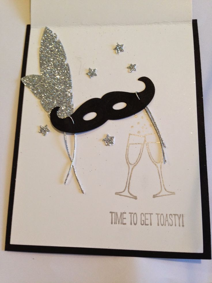 CUT COLOR PASTE: Week 2 in 12 weeks of Christmas Contemporary Celebration - Interior of New Year's card that creates a mask with the mustache die and feathers die.