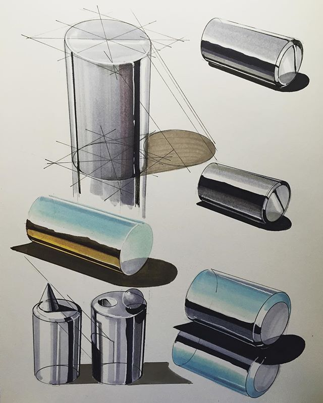 A study that demonstrates the possibility of using marker as a rendering medium, whilst experimenting with principles of tone and the behaviour of reflective surfaces. (Pinned from instagram.com)