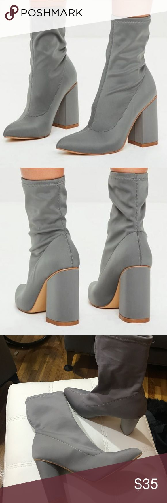 "Missguided Grey Block Heel Sock Booties Missguided all grey neoprene fabric sock style heeled booties! US size 8 - sold out on Missguided in this size! Approximately a 4"" block heel Worn only once! Missguided Shoes Ankle Boots & Booties"
