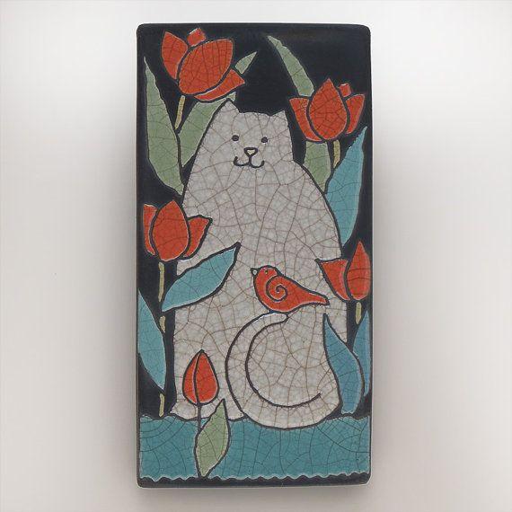 Cat, Kitty , 4x8 raku fired art tile,handmade ceramic tile, home decor, wall art