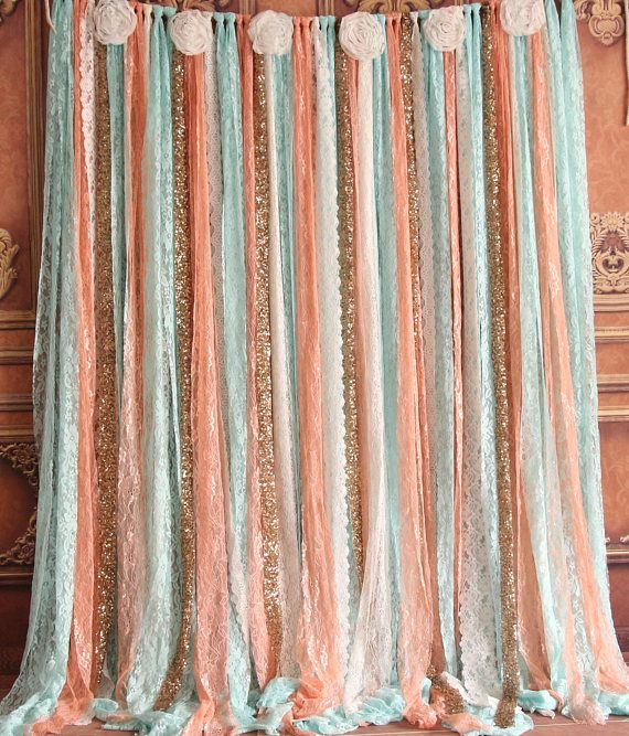 coral mint Lace flowers or sparkly fabric backdrop Wedding
