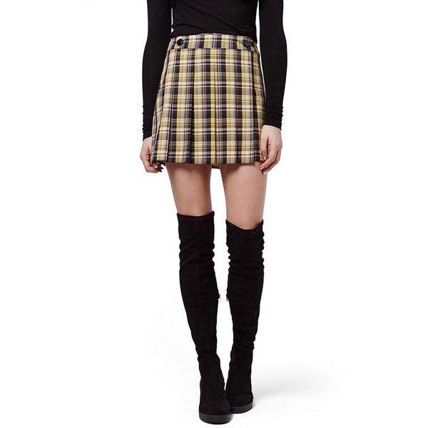 Topshop Plaid Kilt Miniskirt ($60) ❤ liked on Polyvore featuring skirts, mini skirts, yellow multi, white pleated skirt, white pleated mini skirt, white skirt, short skirts and plaid skirt