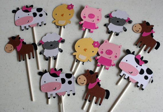 12 Girl Farm Animal Cupcake Toppers,baby shower, cupcake decorations, cow, horse, chick, sheep, pig, first birthday