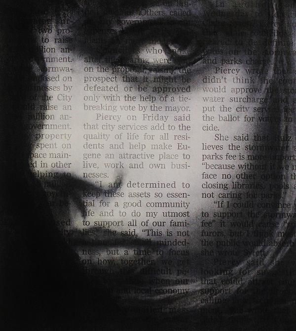Art in the news 9, charcoal drawing on newspaper