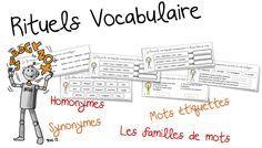 Rituels vocabulaire : synonyme, homonyme , famille et mot-étiquettes | Bout de Gomme