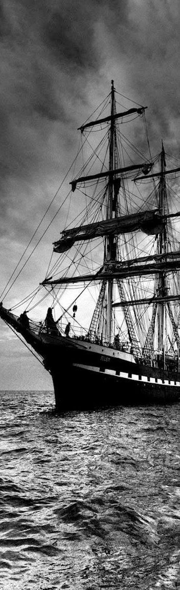 sailing ship in black and white