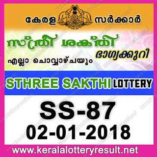 "Kerala Lottery Results LIVE: 02-01-2018 ""Sthree Sakthi Lottery SS.87"" Today Result"