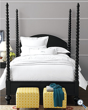love the detail on the wall: Poster Beds, Guest Bedroom, Bed Frame, Bedrooms, Master Bedroom, Home Furniture, Yellow Ottoman, Bedroom Ideas