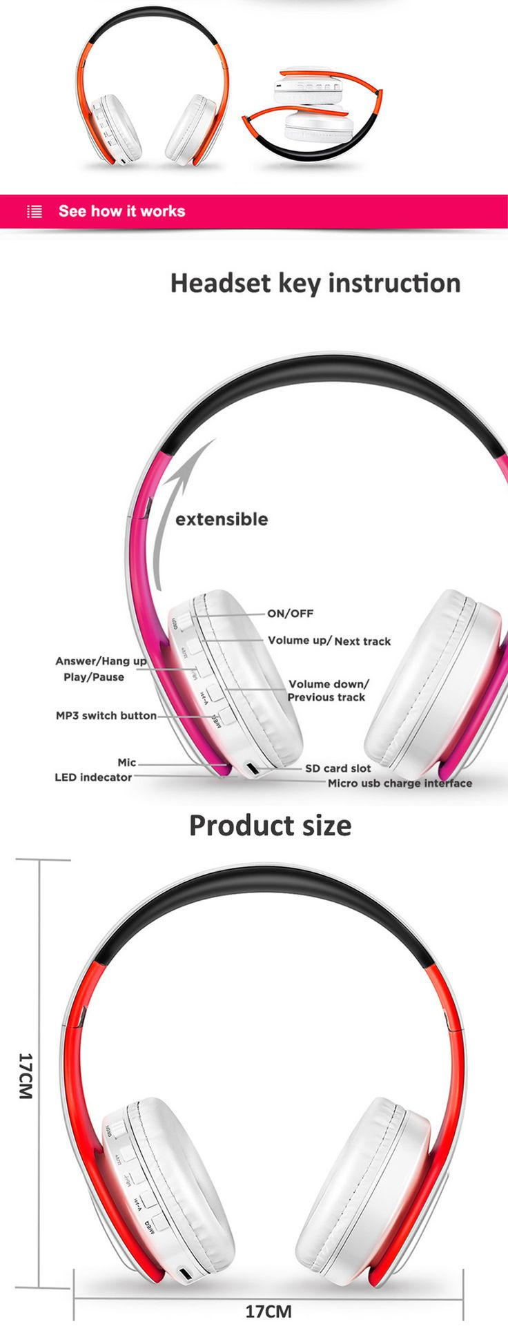 Bluetooth Wireless Stereo Sport Headphone with Mic - White, Orange - Free Shipping - DealExtreme