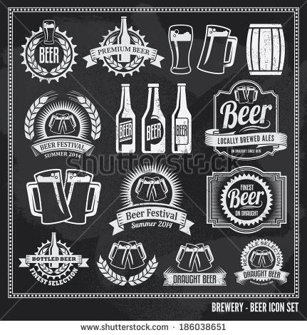 Beer icon chalkboard set - labels, posters, signs, banners, vector design symbols. Removable background texture. by rtguest, via Shutterstoc...