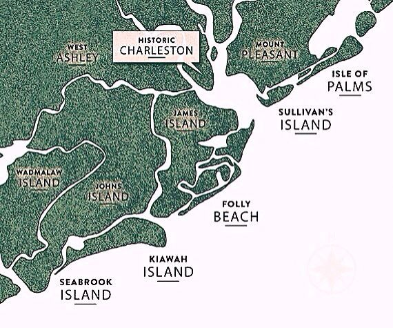 Map of Charleston's Five Beaches: Isle of Palms, Sullivan's Island, Folly Beach, Kiawah Island & Seabrook Island   South Carolina
