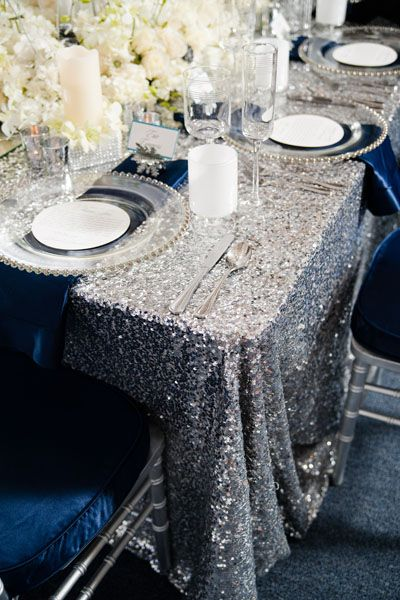 winter wedding inspiration- cute table setting. maybe I could use LED candles: