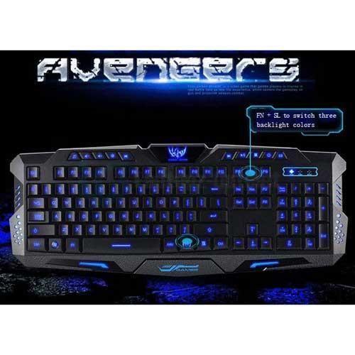 Marvelous  Key Adjustment Colors LED Backlit Wired USB Multimedia PC Gaming Keyboard