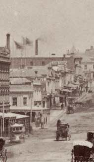 Bourke Street Melbourne, Australia - looking west from Swanston Street, showing south side of the street c.1880 albumen silver photograph La Trobe Picture Collection - State Library of Victoria