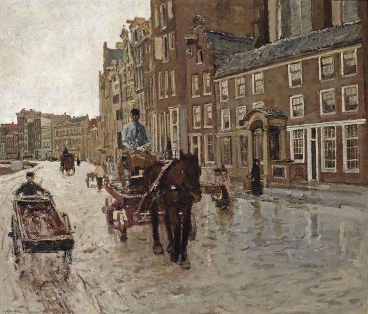 George Hendrik Breitner (Dutch, 1857-1923), Rokin with the Nieuwezijdskapel, Amsterdam, c.1904. Oil on canvas, 70.5 x 81 cm.