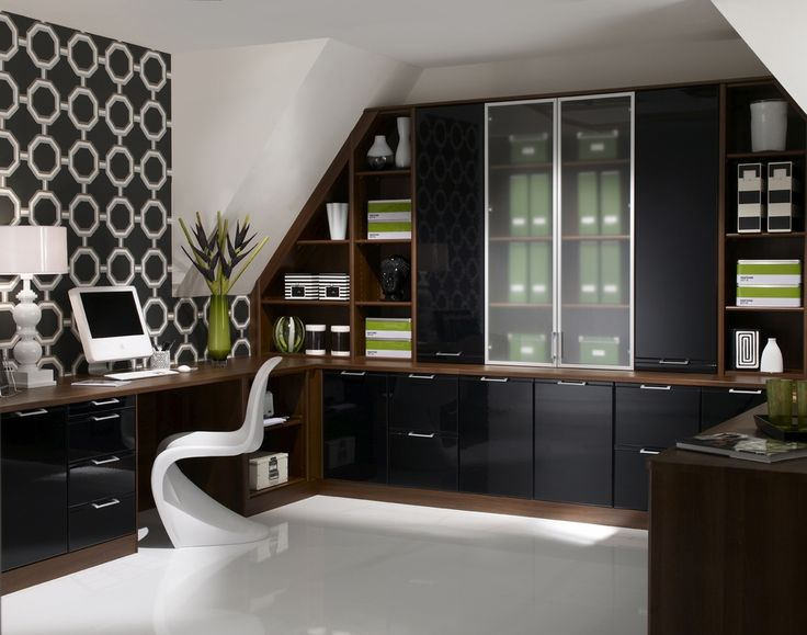 Home Office Designs Modern Dark Themed Home Office Design Ideas Gloss Black Office Cabinets Natural Wood Top Computer Desk White S Shaped Office Chair
