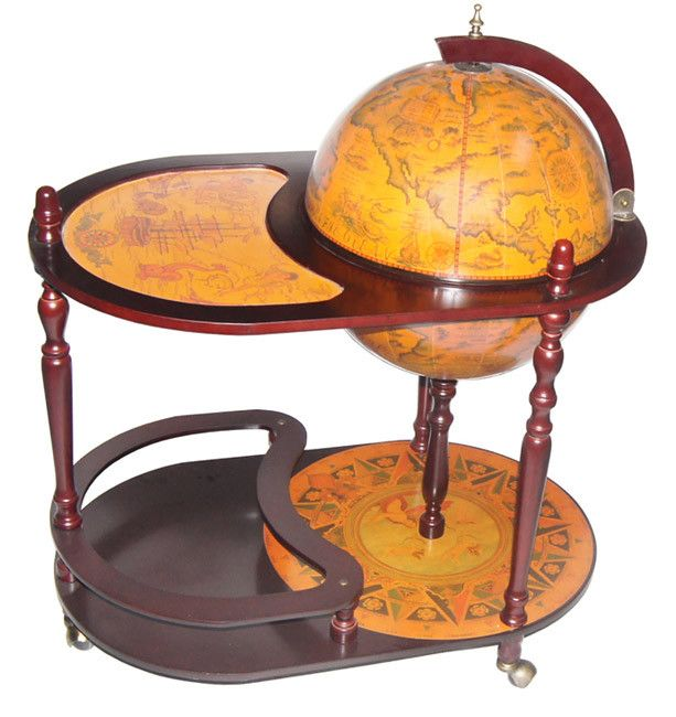 wrapped with majestic replica century nautical maps this bar globe has an integrated wooden floor stand with casters for easy portability