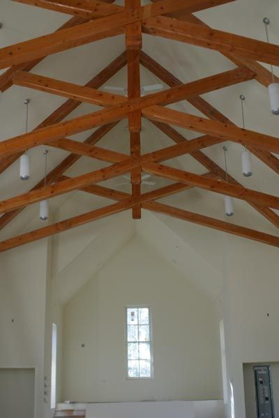 King Post Scissor Timber Truss For The Dormer Room In Sunroom Contemporary BarnPole