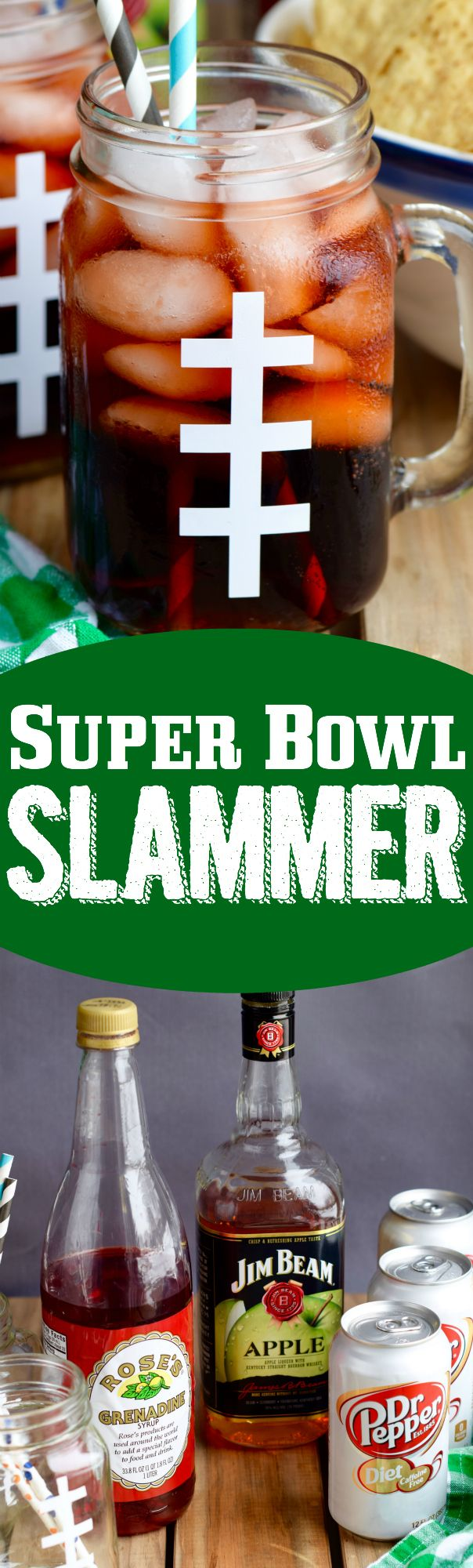These Super Bowl Slammers are a simple Dr Pepper Cocktail that is perfect for gameday or any day! Make them even more fun sharing them in these easy DIY Football Glasses!   Wine & Glue {Must have missed this last year, ~ Janelle/Snow =^..^=}