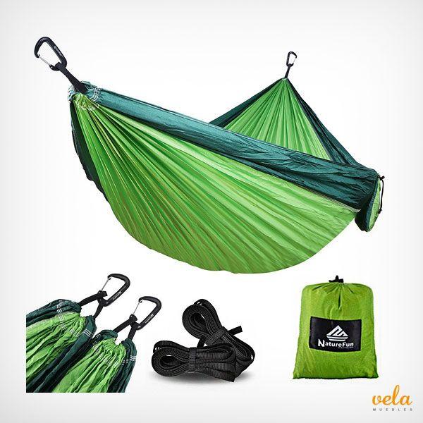 Resistente hamaca colgante de nylon para jardín, senderismo, playa y - hamacas colgantes