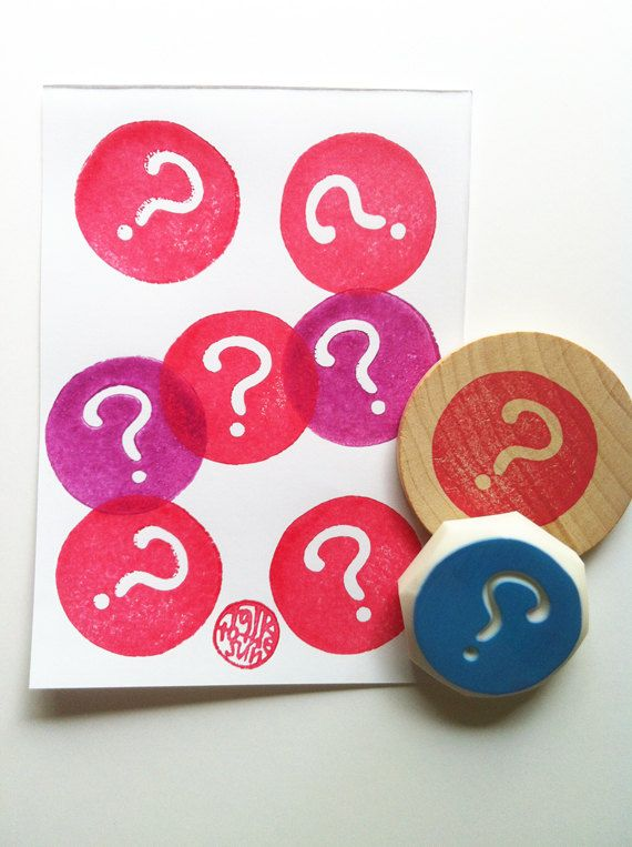 question mark rubber stamp. hand carved by talktothesun, $16.00
