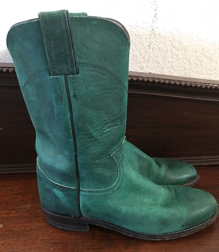 vintage Texas made JUSTIN ROPER BOOTS Green 6 B leather roper boots hipster  boho chic by vintagecoachellagal on Etsy https://www.etsy.com/listing/463259161/vintage-texas-made-justin-roper-boots