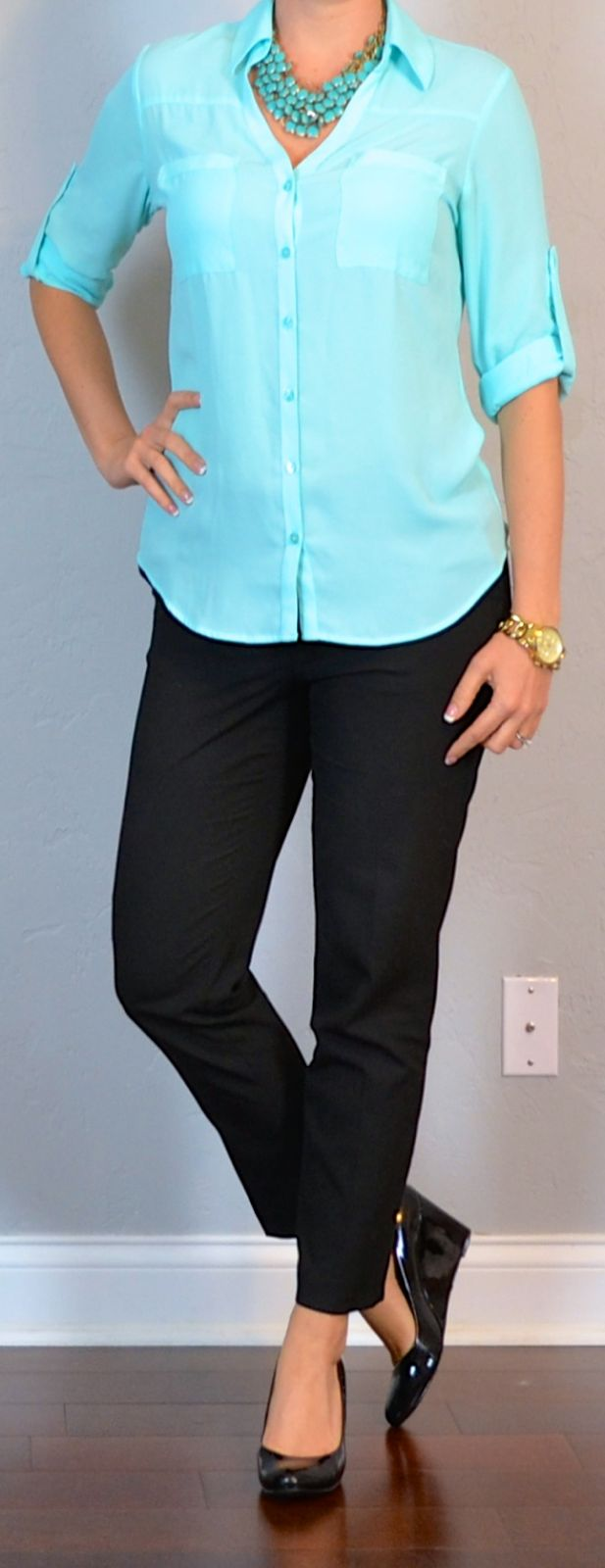 Outfit Posts: outfit post: teal blouse, black cropped pants, black wedges