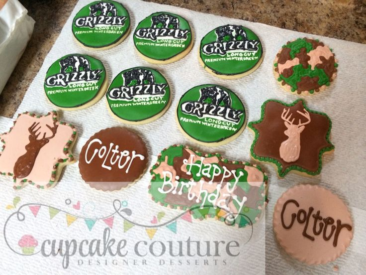 Grizzly snuff/hunting cookie set by Cupcake Couture Carthage