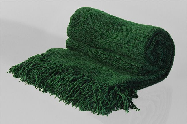 Chenille Throw with frill bottle green