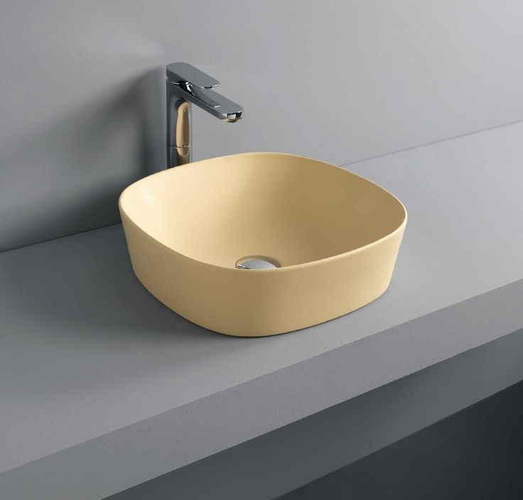GHOST countertop washbasin #TheArtceram #yellow #bathroom #colors  - Thin-rim washbasins