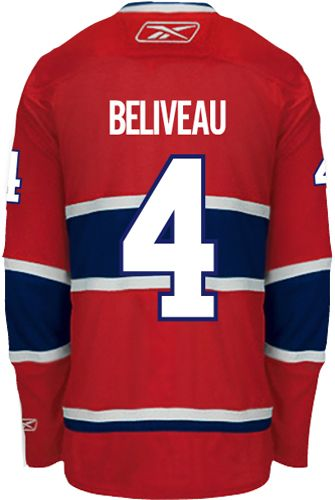 Montreal Canadiens VINTAGE Jean BELIVEAU #4 *C* Official Home Reebok Premier Replica NHL Hockey Jersey (HAND SEWN CUSTOMIZATION)