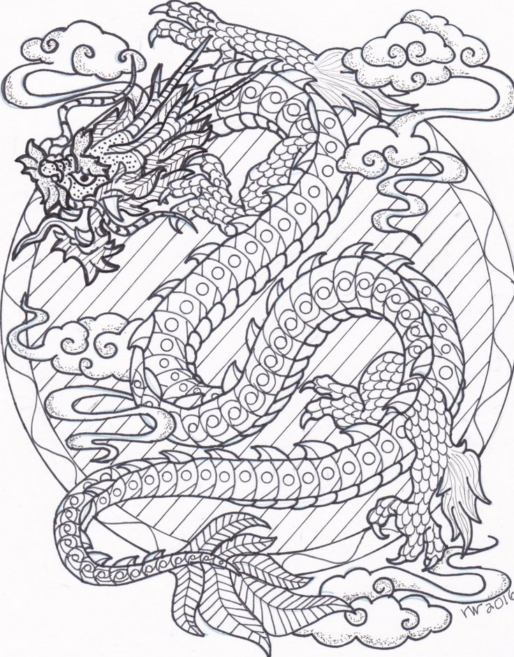 Coloring Page Zentangle Chinese Dragon Digital Coloring