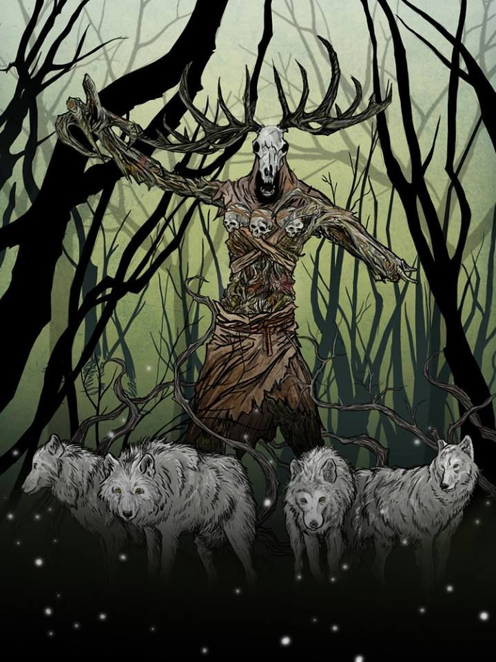 Leshen surrounded by a pack of wolves by Pawel Perlowski.