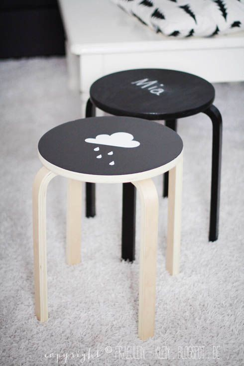 DIY Chalkboard painted stools