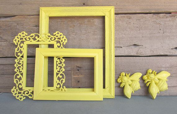 Bright Yellow Picture Frames Set of 3 with BEES w/ by BeautiSHE