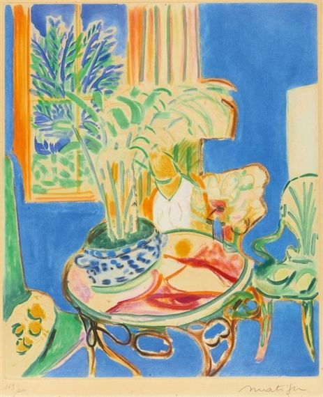 Artwork by Henri Matisse, Petit intérieur bleu, Made of Coloured aquatint on Arches