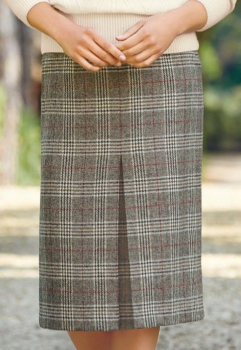 Prince of Wales invert pleat skirt | £99 | Woven in a British heritage mill and produced in the UK.