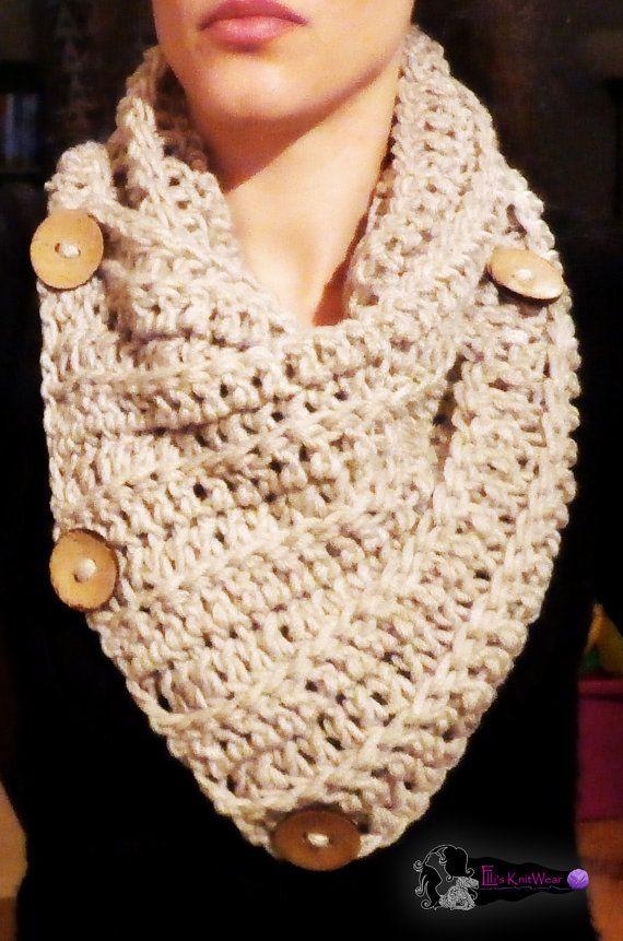 Crochet Cowl WIth Wooden Buttons by EllisKnitwearShop on Etsy