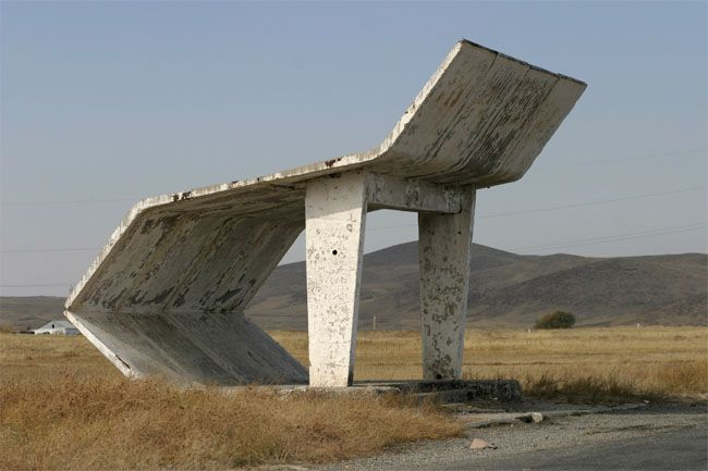 A collection of Russian roadside bus-stops built in the Soviet era. Photography by Christopher Hewig between 2002-2006 during his bike trek through the Baltics and Russia.