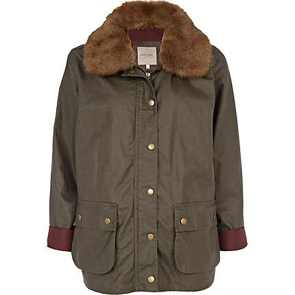 khaki waxed faux fur collar jacket - jackets - coats / jackets - women - River Island