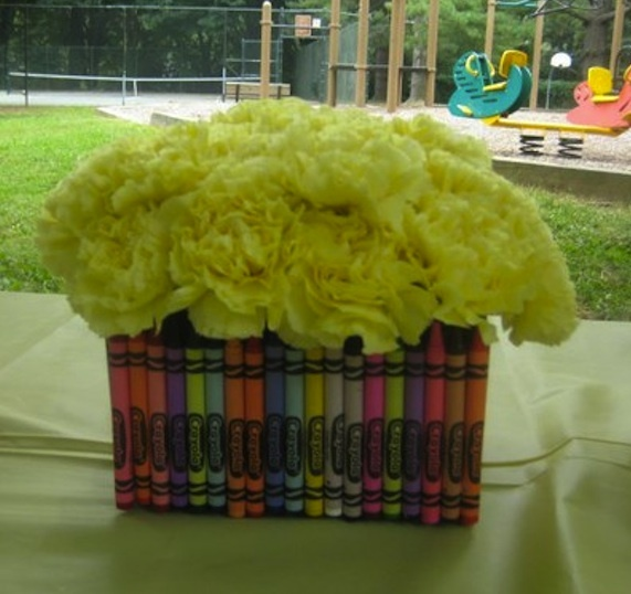 Even Crayons look perfect as centerpieces - perfect for our broken/used supplies!