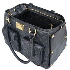 Classic Satchel Dog Purse Carrier Bag :: Black