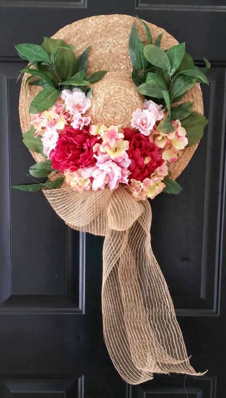 Straw Hat Wreath Floral Wreath Spring Wreath Summer Wreath by EmeraldLilyCS on Etsy